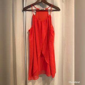 NWOT Forever 21 Orange Crepe Dress size L (E15)